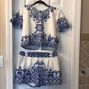 Choies Royal Blue & White 2 Piece Crop Outfit